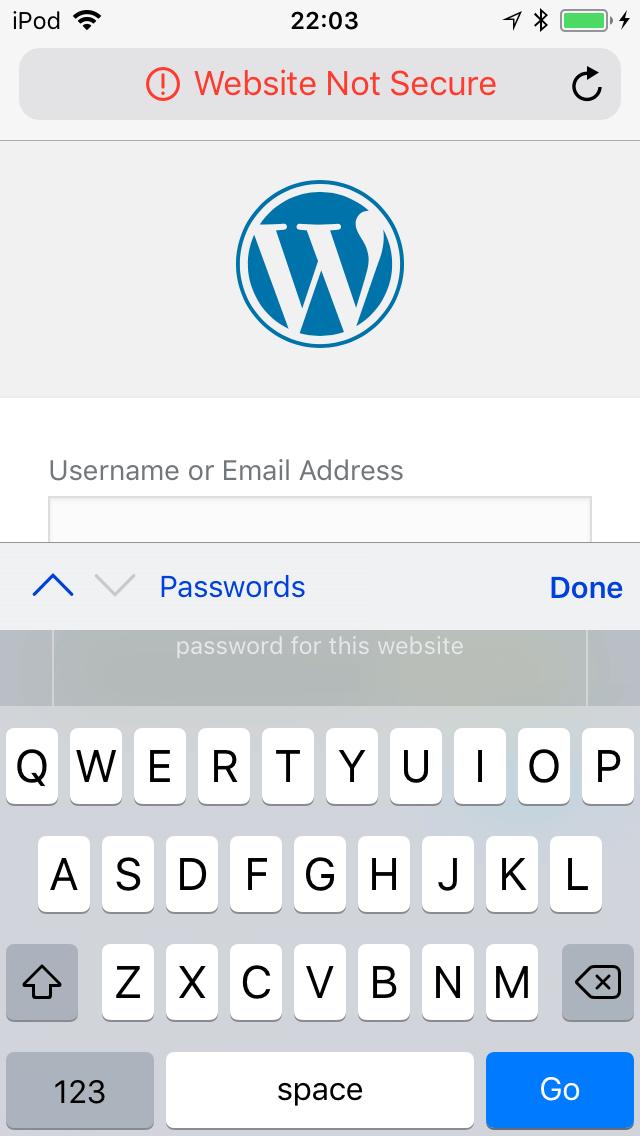 Website Not Secure Warning - Safari